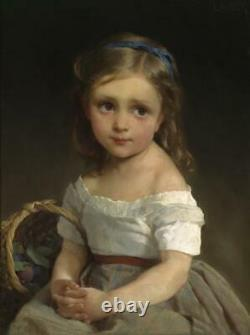 Old Master-Art Antique Oil Painting Portrait small girl on canvas 24x36