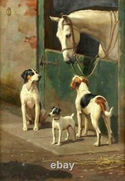 Old Master-Art Antique Oil Painting animal Portrait dog horse on canvas 24x36