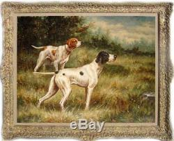 Old Master-Art Antique animal Oil painting Portrait hunting dog on Canvas 30X40
