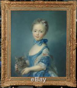 Old Master-Art Antique portrait oil Painting Small girl Cat on canvas 20x24