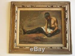 Old Masterful Painting Antique Rosas Male Model Mexico Rare 1903 Listed Portrait
