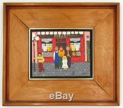 Old Naive Painting Signed GATT Oil on Canvas with Wood Frame Vintage Art