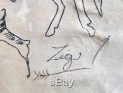 Old Native American Painting on Deer Skin Or Hide Signed ZIG 33 X 23