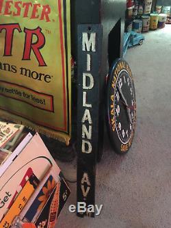 Old Original Cast Iron Street Sign Road Highway Toronto Antique MIDLAND Vintage