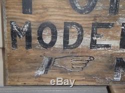 Old Original Modern Cottages Wood Tourists Sign Antique Primitive Folk Art