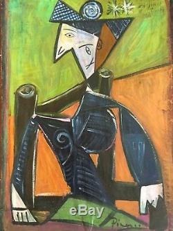 Old Original Modern Oil Painting Cubist Portrait Signed Picasso Cubism Modernism