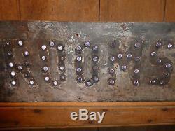 Old Original''rooms'' Glass Cat Eye Reflectors Road Trade Sign Vintage Antique