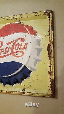 Old PEPSI SIGN antique from general store HUGE. Beautiful rusty! RARE