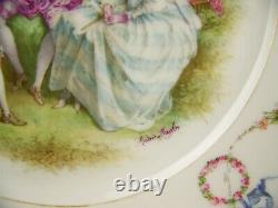 Old Paris Sevres Style Handpainted Ribbons Roses Swag Gold Plate Artist Signed