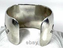 Old Pawn Navajo Cerrillos Turquoise Cuff Bracelet Sterling Silver Native 75G VTG
