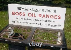 Old Store Display Miniture Boss Kerosene Stove Salesmans Sample Porcelin Sign