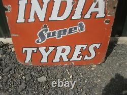 Old Vintage Antique Enamel Sign Garage Advert India Tyres Gas Pump