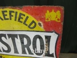 Old Vintage Antique Enamel Sign Garage Gas Petrol Oil Jug Globe Pump Castrol Tin