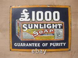 Old Vintage Antique Enamel Sign Shop Advert Sunlight Soap Packet SMALL SIZE