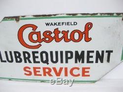 Old Vintage Antique Garage Enamel Sign Advert Petrol Gas Oil Cabinet Jug Castrol