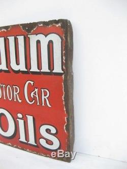 Old Vintage Antique Garage Enamel Sign Advert Petrol Gas Oil Can Jug Vacuum