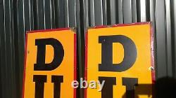 Old Vintage Antique Metal Garage Enamel Signs Dunlop Tires Tyres Auto Advert x2