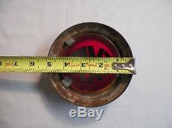 Old Vintage Antique Round Art Deco Theater Glass Exit Light Sign Red & Black