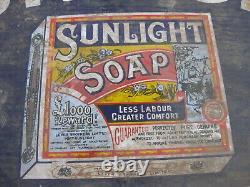 Old Vintage Antique Shop Enamel Sign Sunlight Soap Box packet