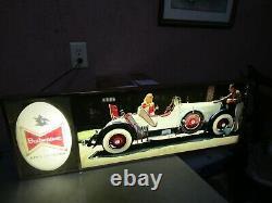 Old Vintage Budweiser LIghted Sign 1937 Kissel Gold Bug Antique Automobile