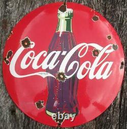 Old Vintage Coca Cola Domed Button Porcelain Enamel Steel Shop Sign 30cm