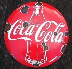Old Vintage Coca Cola Domed Button Porcelain Enamel Steel Shop Sign 30cm b