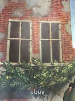 Old Vintage Large Oil Painting On Canvas, unframed, signed
