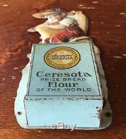 Old Vtg Antique Ceresota Bread Flour Tin Match Holder Advertising Metal Sign