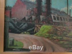 Old Wpa Era Factory Industrial Painting American Regionalism Landscape Antique