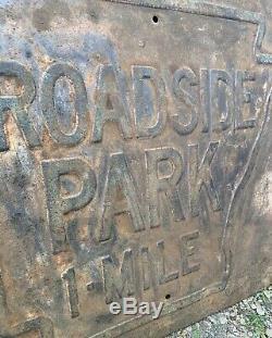 Old antique ARKANSAS highway embossed sign ROADSIDE PARK 1 MILE
