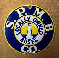 Old antique original porcelain BUS sign S. P. M. B Co. Lighthouse California