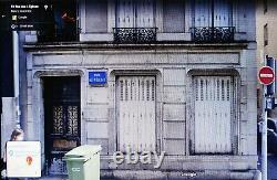 Old blue French enamel street sign road rue des 4 Quatre Eglises churches Nancy