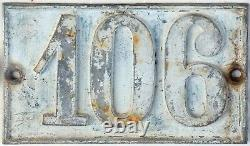 Old large C19 French house number 106 door wall plate plaque cast iron sign