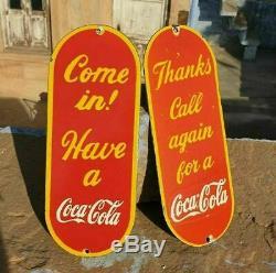 Original 1940 Old Vintage Rare Antique Coca Cola Ad Porcelain Enamel Sign Board