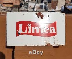 Original 1940's Old Antique Vintage Very Rare Limca Porcelain Enamel Sign Board