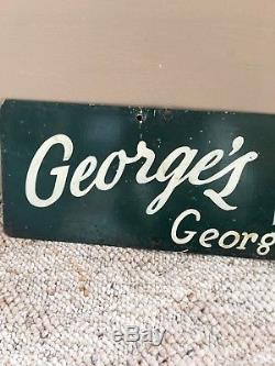 Original Old Antique 1940's Double Sided George's Delicatessen Deli Metal Sign