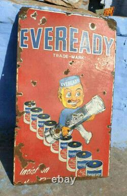 Original Vintage Antique Old Rare Eveready Torch Ad Porcelain Enamel Sign Board