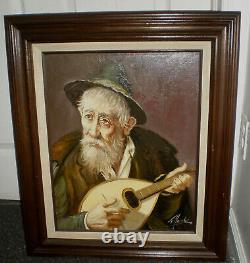 Original Vintage Oil Painting Detailed Old Man With Ukulele Signed Heavy Framed