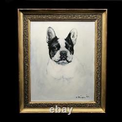 Original antique oil painting on canvas French Bulldog 20th with old frame