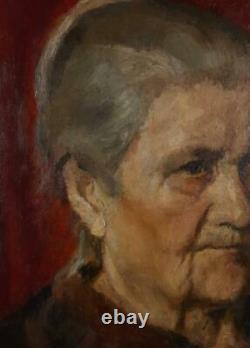 Original oil painting, Portrait, Old Woman, Ukrainian artist, Vintage