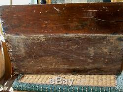 Primitive old Lg Wood Dough Box Square Head Orig Patina Signs of Ware