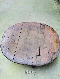 Primitive old antique wooden round table