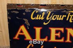 RARE ANTIQUE Alemite Sign Porcelain Advertising Large Blue 60x28 Oil Old