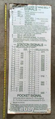 RARE ARIZONA BELLS BELL SIGNALS MINE METAL SIGN ANTIQUE OLD MINING BIG 46 x18