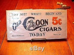 RARE Antique OLD COON 5c Cigar Tobacco Advertising Smoke Sign Circa 1900