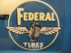 RARE HUGE Vintage Federal Tires Dealer Sign Embossed Antique Old RARE! 9877