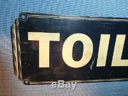 RARE OLD ORIGINAL 1920s ART DECO PERIOD''TOILET'' METAL SIGN VINTAGE ANTIQUE