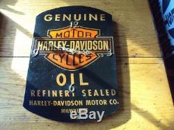 RARE Old Antique Harley Davidson Oil Can Wood Wall Clock Advertising Sign WOWZER