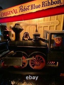 RARE VTG 1950's OLD PABST BEER MOVING LIGHT UP TRAIN BAR LIGHT PUB SIGN ANTIQUE