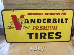 RARE Vintage Double-sided Vanderbilt Tires Dealer Sign Antique Old RARE! 9873